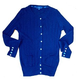 Gap Navy Blue Cable Knit Lightweight Cardigan